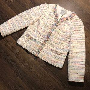 Worth Rainbow Tweed Button Jacket 14